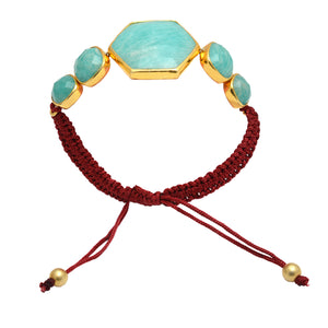 18kt Gold Vermeil Adjustable Amazonite Bracelet