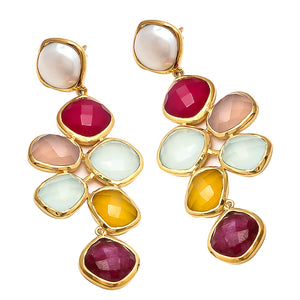 18kt Gold Vermeil Multi Chalcedony Statement Earring