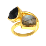 18kt Gold Vermeil Two Stone Black Onyx and Labradorite Ring