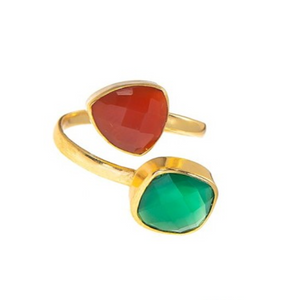 18kt Gold Vermeil Two Stone Carnelian and Green Onyx Ring