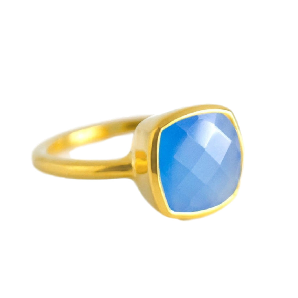 18kt Gold Vermeil Blue Chalcedony Ring