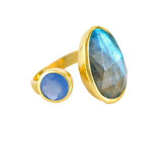 18kt Gold Vermeil Two Stone Labradorite and Aqua Chalcedony Ring