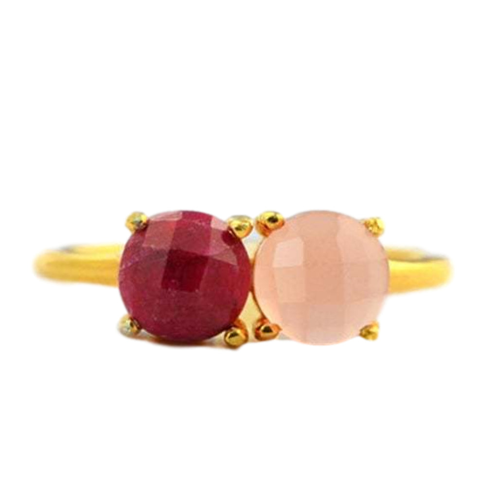 18kt Gold Vermeil Red and Pink Chalcedony Ring