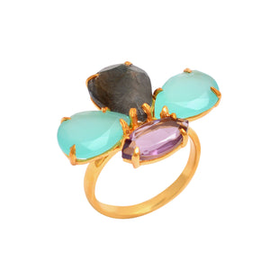18kt Gold Vermeil Multi stone Ring