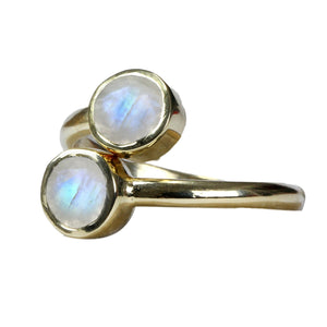 18kt Gold Vermeil Two Stone Rainbow Moonstone Ring
