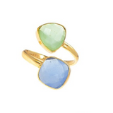 18kt Gold Vermeil Two Stone Blue and Chrysoprase Chalcedony Ring