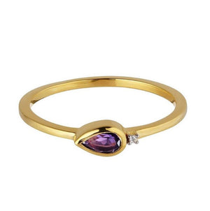 18kt Gold Vermeil Amethyst and Diamond Ring