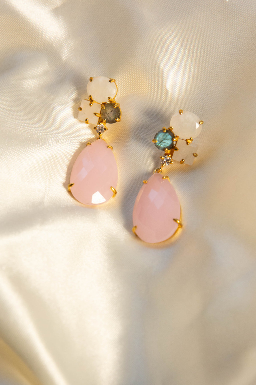 18kt Gold Vermeil White and Pink Rainbow Earring