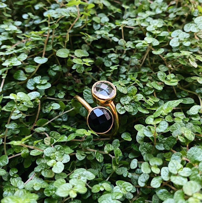 18kt Gold Vermeil Two Stone Black Onyx and Clear Quartz Ring