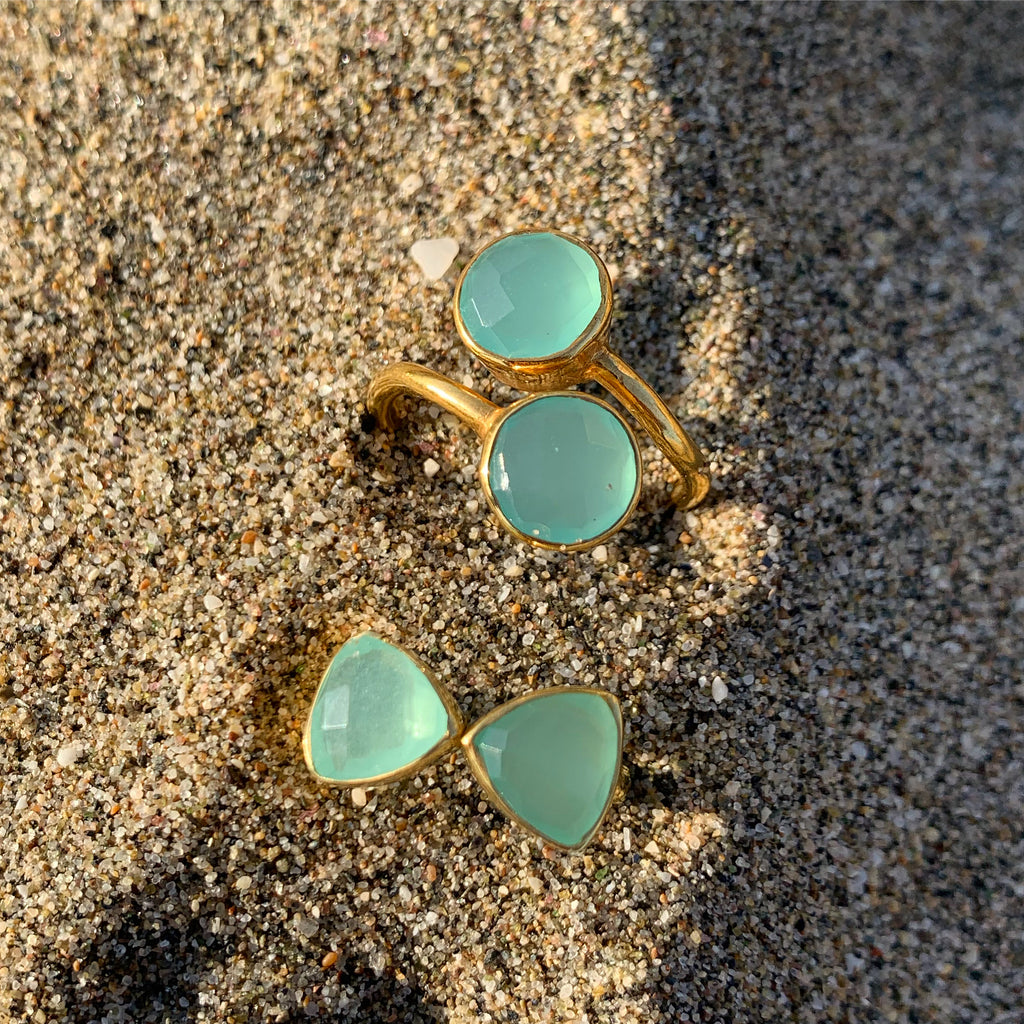 18kt Gold Vermeil Two Stone Aqua Chalcedony Ring