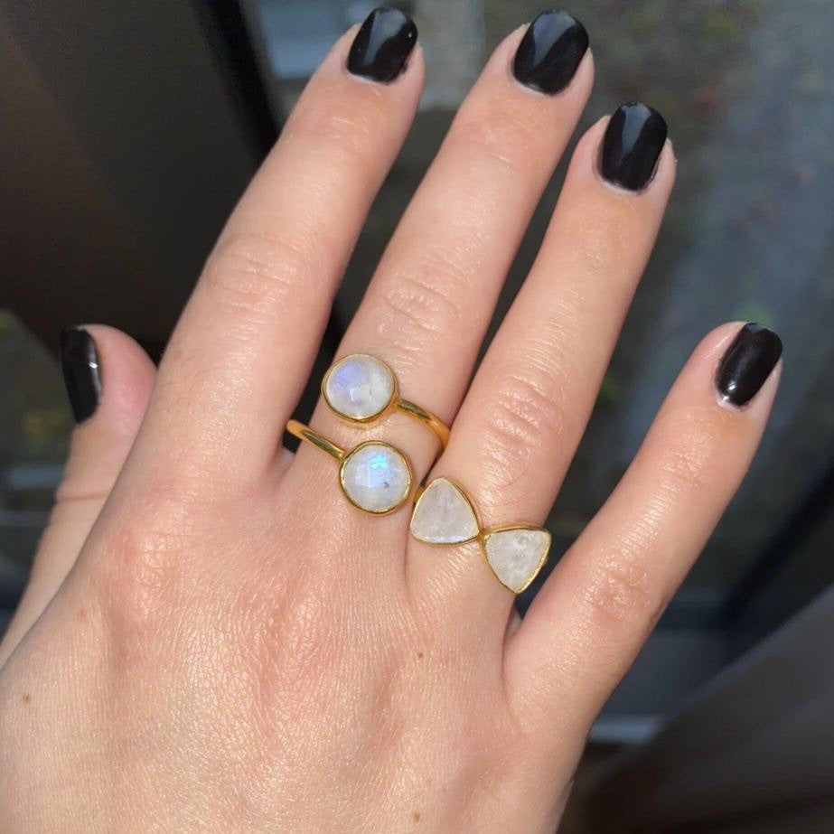 18kt Gold Vermeil Two Stone Moonstone Ring