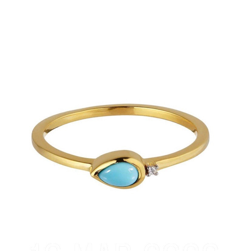 18kt Gold Vermeil Turquoise and Diamond Ring