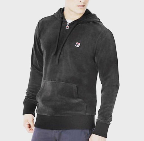 Half Zip Velour Fila Hoody (Grey)