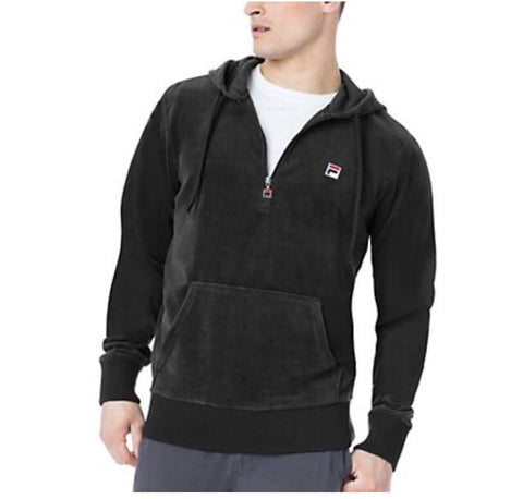 Half Zip Velour Fila Hoody (Black)