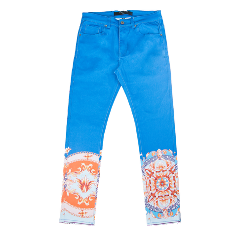 Vie Riche Baroque Print Denim Pants
