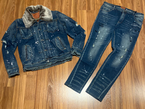 Iro Ochi Washi Denim Jacket+Sanjo Denim Blue Jean Set
