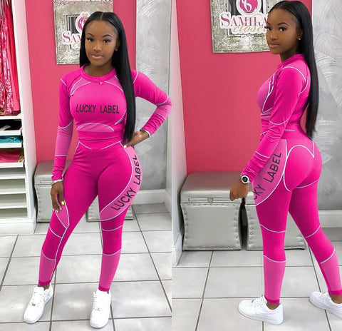 Lucky Label 2 Piece Jump Suit (Fuchsia)