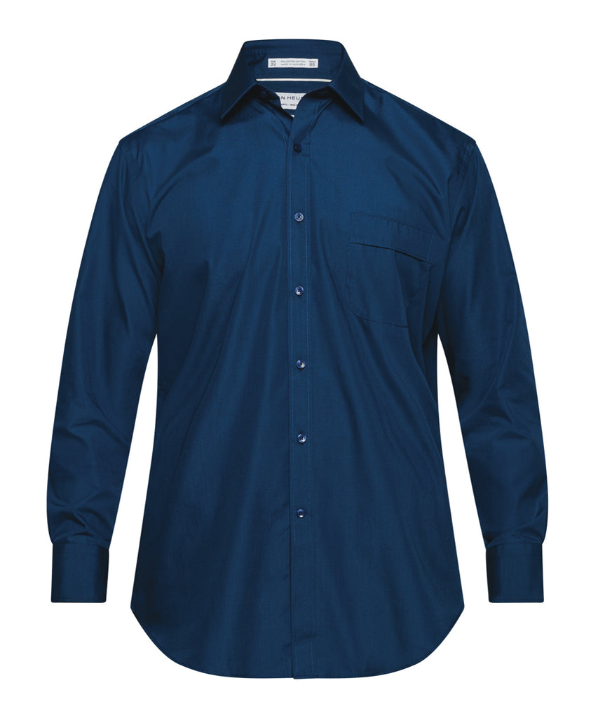 Van Heusen Men's Classic Relaxed Fit Shirt Polyester Cotton Solid Colour Easy Care ( 2nd Color) (A101)