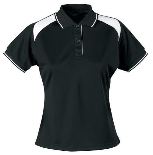 Stencil-Stencil Ladies' Club Cool Dry Polo-Black/White / 8-Uniform Wholesalers - 11