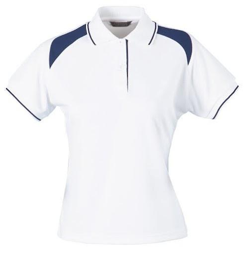 Stencil-Stencil Ladies' Club Cool Dry Polo-White/Navy / 8-Uniform Wholesalers - 2
