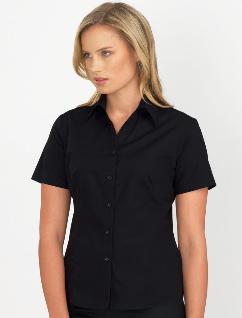 John Kevin-John Kevin Women's Short Sleeve Poplin-6 / Black-Corporate Apparel Online - 1