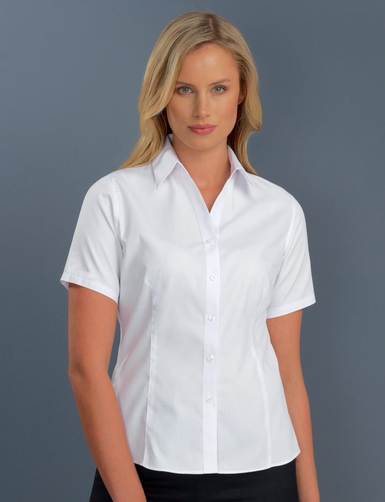 John Kevin-John Kevin Women's Short Sleeve Poplin-6 / White-Corporate Apparel Online - 3