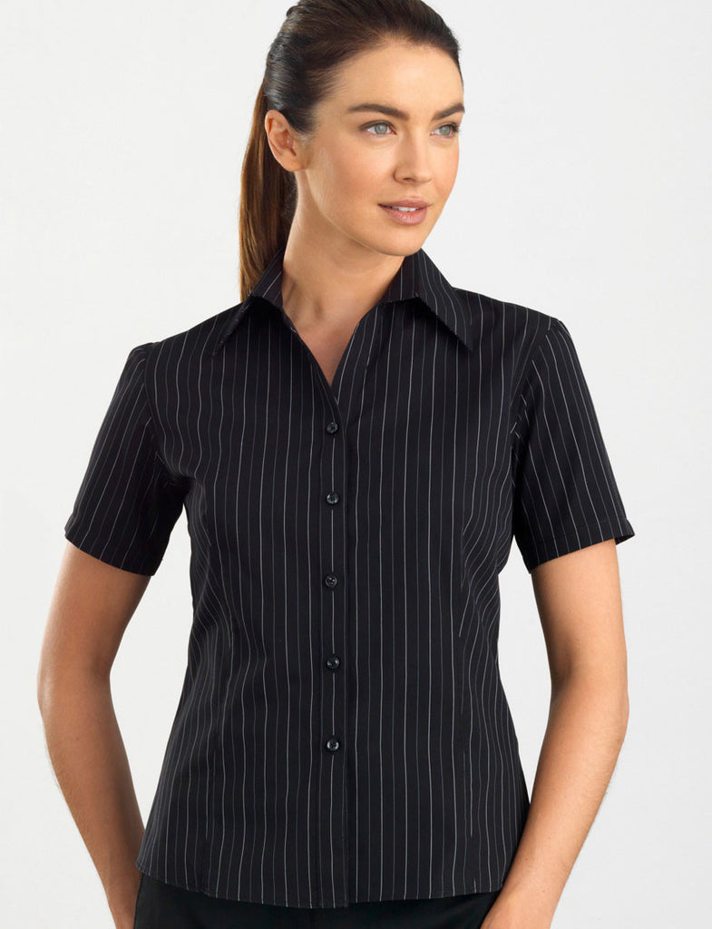 John Kevin-John Kevin Women's Short Sleeve Fine Stripe-6 / Black-Corporate Apparel Online - 1