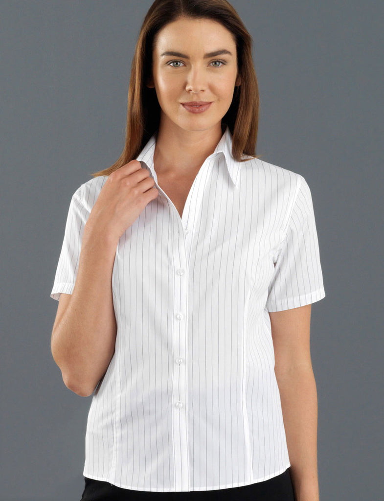 John Kevin-John Kevin Women's Short Sleeve Fine Stripe-6 / White-Corporate Apparel Online - 2