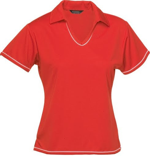 Stencil-Stencil Ladies' Cool Dry Polo 1st (12 Colour)-Red/White / 8-Corporate Apparel Online - 6