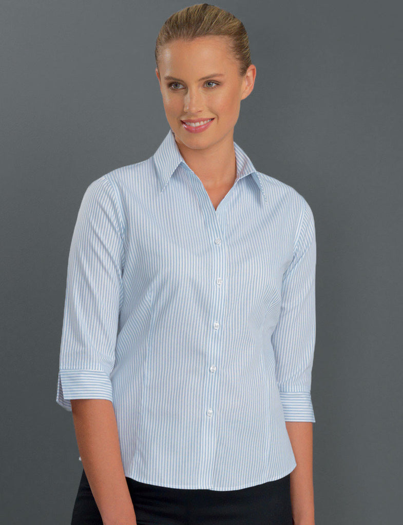 John Kevin-John Kevin  Women's 3/4 Sleeve Three Way Stripe-6 / Blue-Corporate Apparel Online