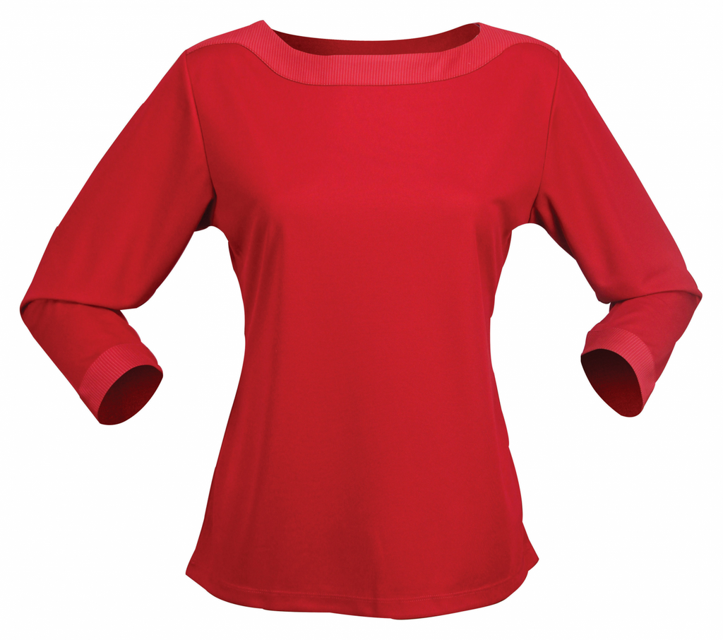 Stencil-Stencil Argent 3/4S Ladies Top-8 / Red-Uniform Wholesalers - 4