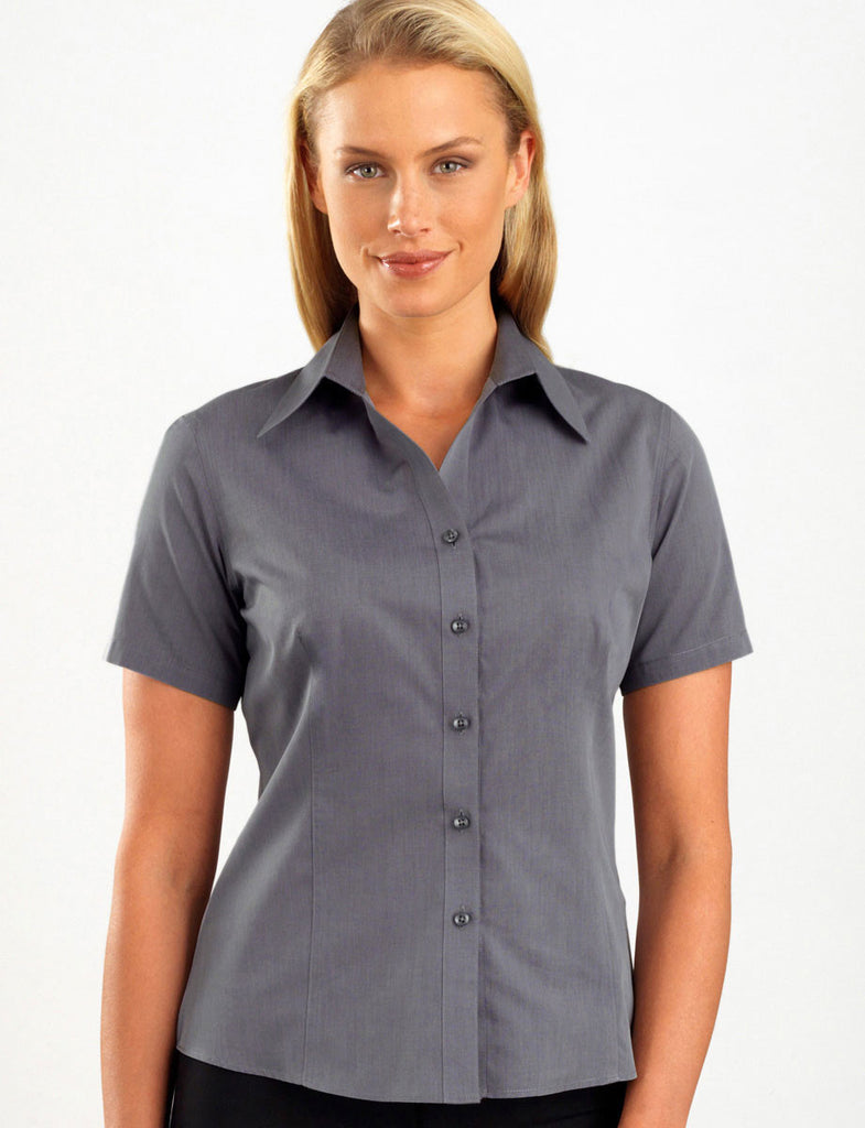 John Kevin-John Kevin Women's Short Sleeve Chambray-6 / Graphite-Corporate Apparel Online - 1