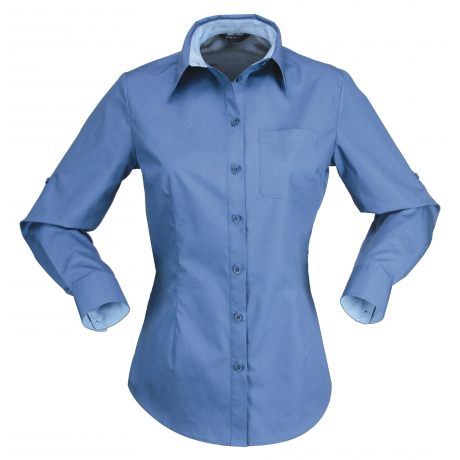 Stencil-Stencil  Hospitality Nano 2134L Ladies L/S Shirt-Slate Blue / Pale Blue / 8-Uniform Wholesalers - 1