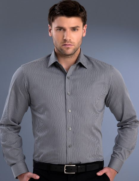 John Kevin Mens Slim Fit Long Sleeve Pinstripe (862)