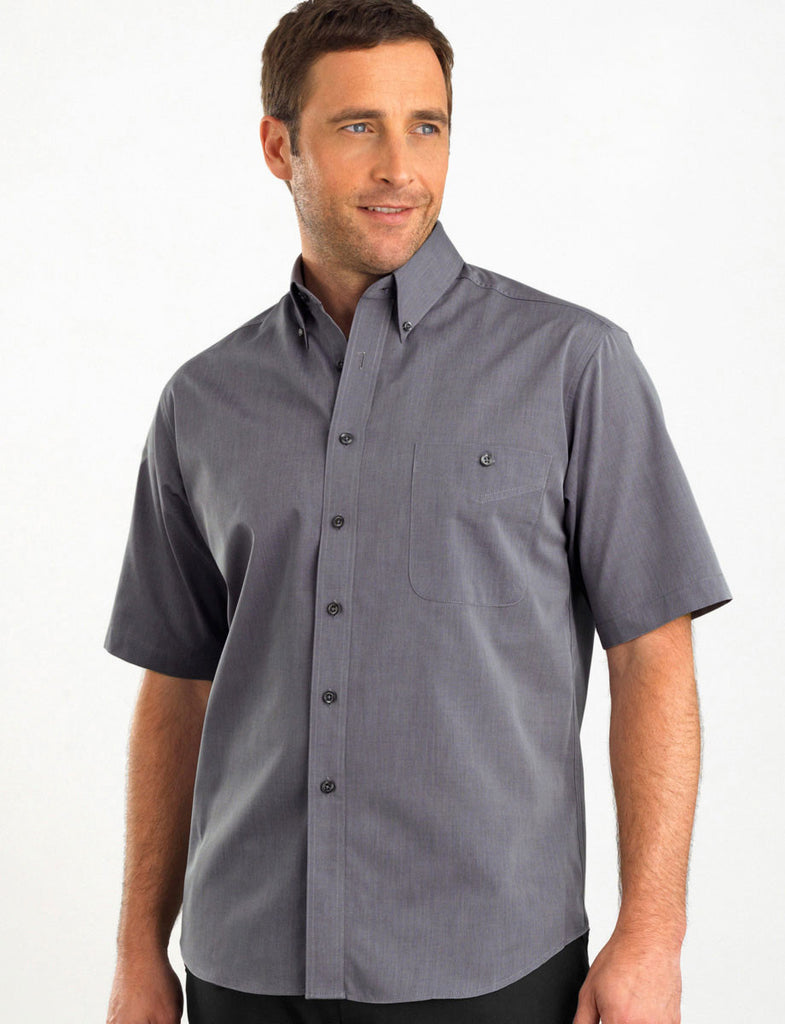 John Kevin-John Kevin Men's Short Sleeve Chambray-Graphite / 38-Corporate Apparel Online - 1