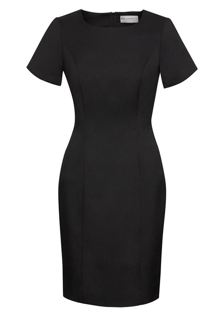 Biz Corporates-Biz Corporates Ladies Short Sleeve Shift Dress-Black / 4-Corporate Apparel Online - 2