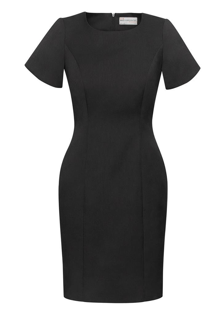Biz Corporates-Biz Corporates Ladies Short Sleeve Shift Dress-Charcoal / 4-Corporate Apparel Online - 4