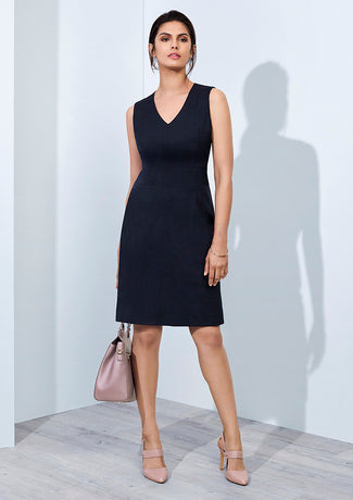 Biz Corporate Ladies Sleeveless V Neck Dress (30121)