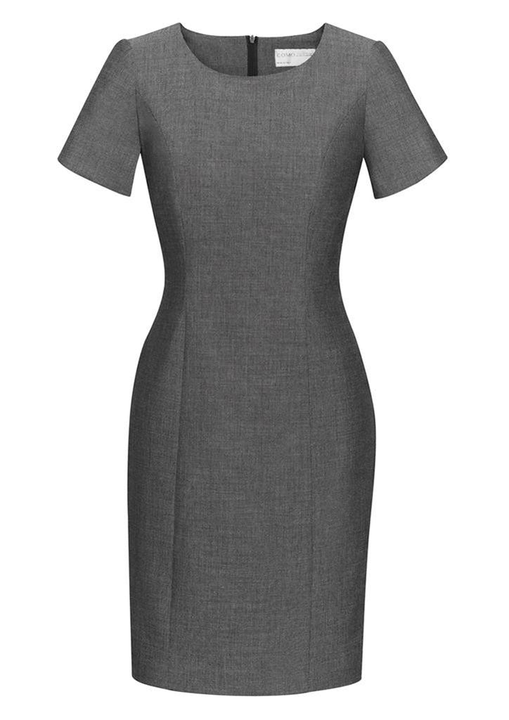 Biz Corporates-Biz Corporates Ladies Short Sleeve Shift Dress-Grey / 4-Corporate Apparel Online - 2