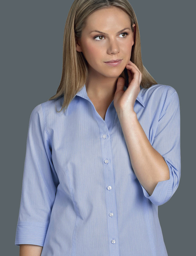 John Kevin-John Kevin  Women's 3/4 Sleeve Soft Stripe-6 / Blue-Corporate Apparel Online