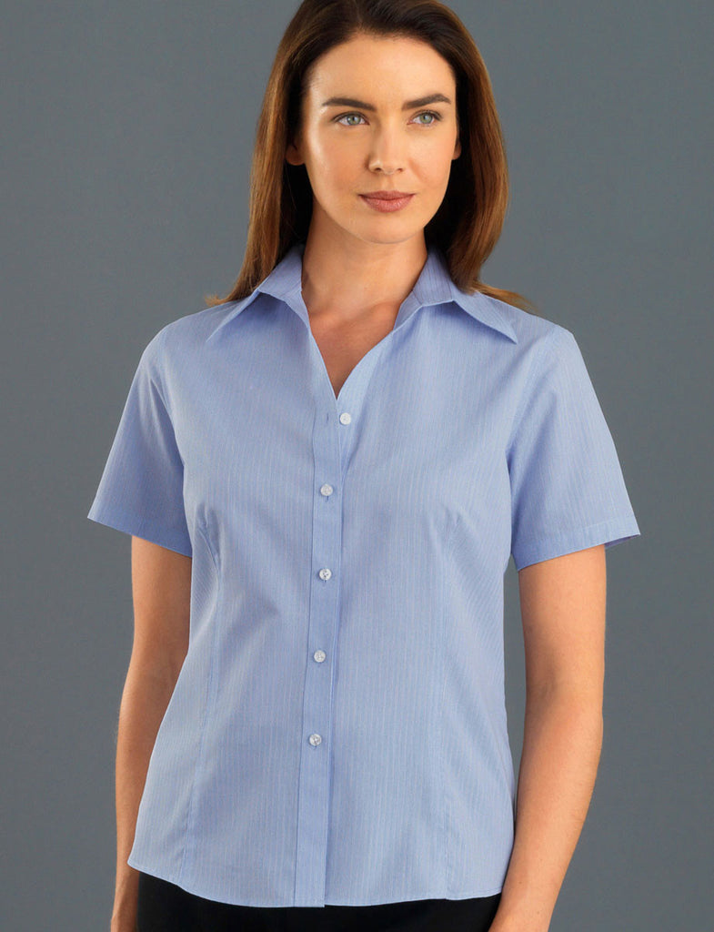 John Kevin-John Kevin Women's Short Sleeve Soft Stripe-6 / Blue-Corporate Apparel Online