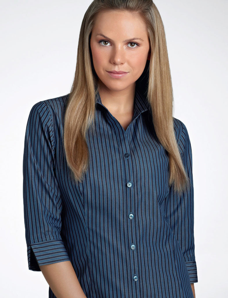 John Kevin-John Kevin  Women's 3/4 Sleeve Bold Stripe-6 / Slate-Corporate Apparel Online