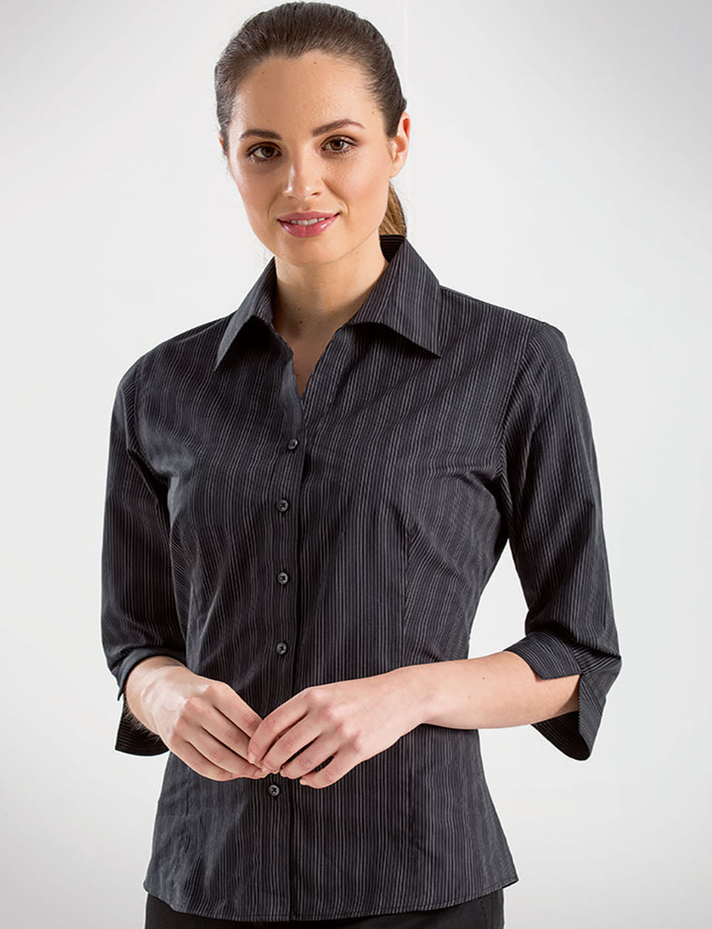 John Kevin-John Kevin  Women's 3/4 Sleeve Dark Stripe-6 / Black-Corporate Apparel Online