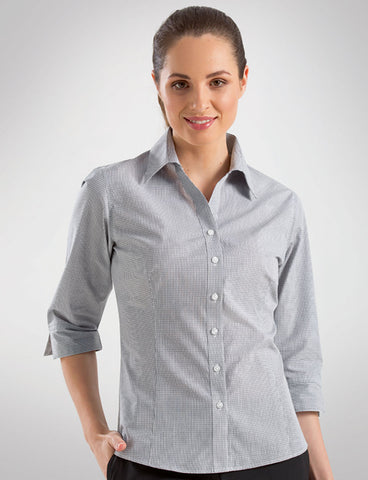 John Kevin-John Kevin  Women's 3/4 Sleeve Multi Check-6 / Grey-Corporate Apparel Online