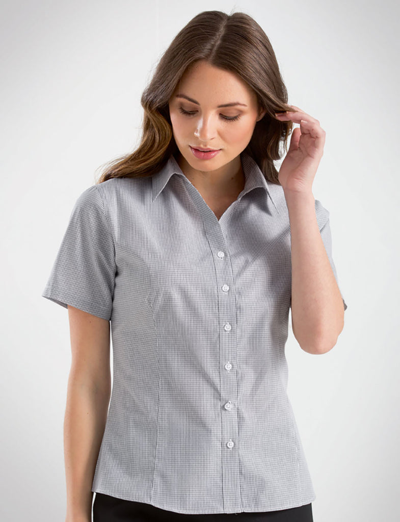 John Kevin-John Kevin Women's Short Sleeve Multi Check-6 / Grey-Corporate Apparel Online