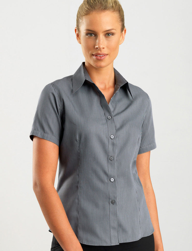 John Kevin-John Kevin Women's Short Sleeve Pin Stripe-6 / Gunmetal-Corporate Apparel Online