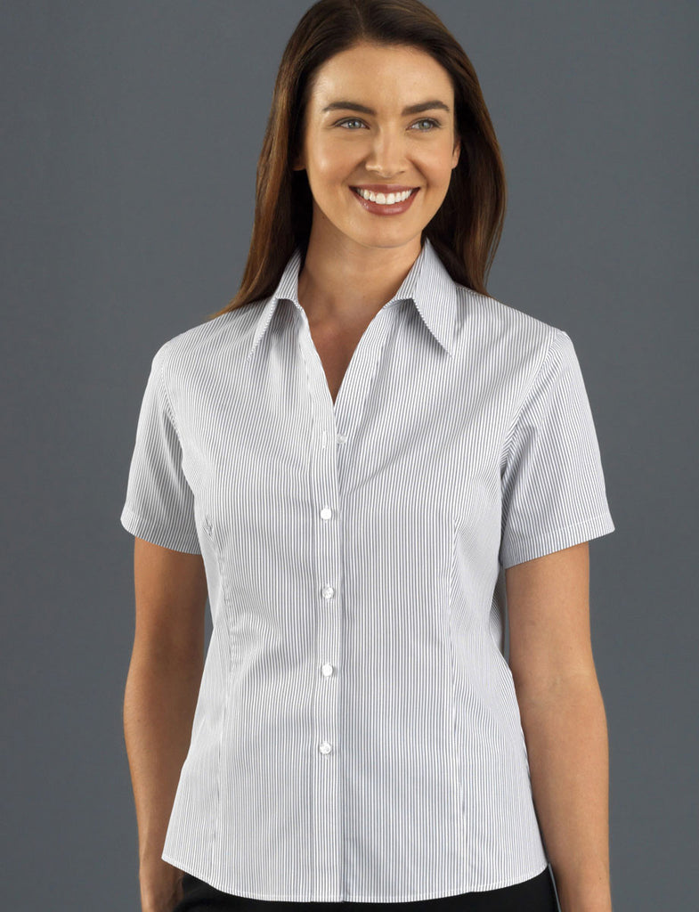 John Kevin-John Kevin Women's Short Sleeve Herringbone Stripe-6 / Steel-Corporate Apparel Online