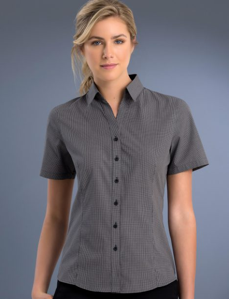 John Kevin Womens Slim Fit Short Sleeve Small Check (775)