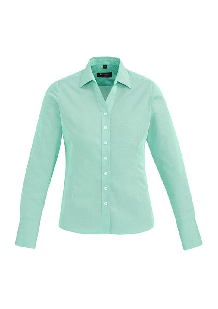 Biz Corporates-Biz Corporates Hudson Ladies Long Sleeve Shirt-Dynasty Green / 4-Corporate Apparel Online - 5