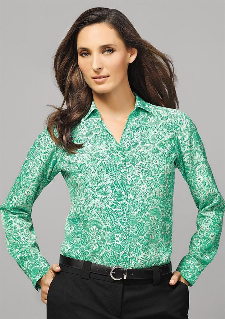 Biz Corporates-Biz Corporates Solanda Ladies Print Long Sleeve Shirt--Corporate Apparel Online - 1